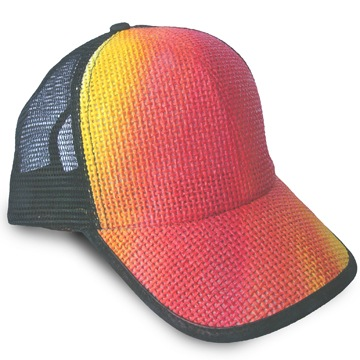 Front view of Canvas Fiery Cap (Red on Yellow)