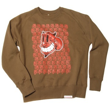 Front view of Devil Men's Crew Sweat (Red on Olive)