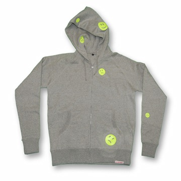 Front view of Ravemoticons Men's Zip-Thru Hood (Yellow on Sport Grey)