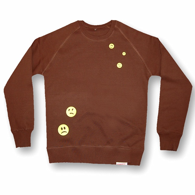 Buy this Crew Sweat: Design: Ravemoticons; Colour: Yellow on Brown; See detailed product info and choose sizing options on next screen.