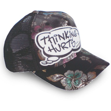 Front view of Thinking Hurts Cap (Multicolour on Black)