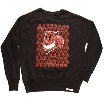 Front view of Devil Men's Crew Sweat (Red on Black)