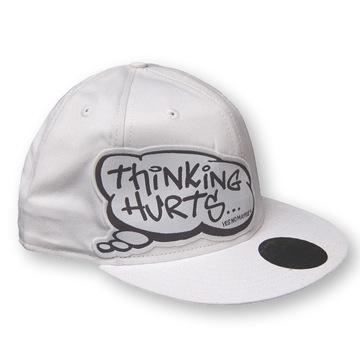 Front view of Thinking Hurts New Era 59FIFTY Baseball Cap (Black/White on White)