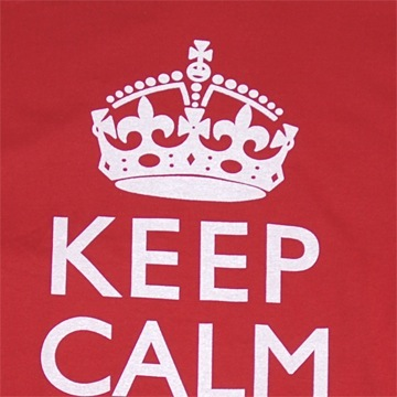 Side view of Keep Calm and Carry On Men's T-Shirt (White on Red)