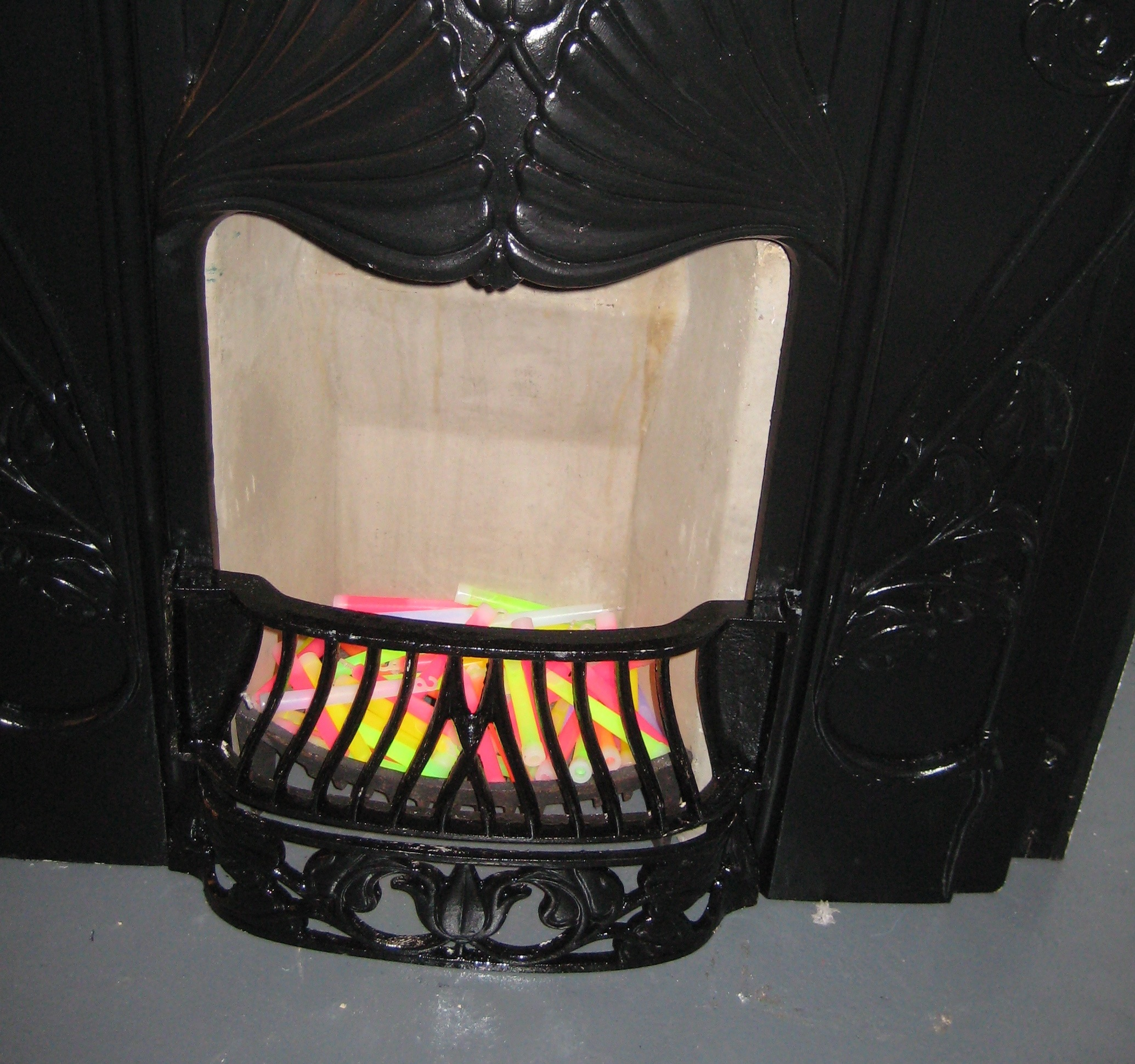 [The counter has a fireplace in it! And more glow sticks last night!